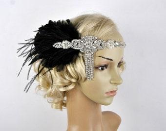The Great Gatsby 20's Ivory rhinestone pearls flapper headband,20's flapper Headpiece headband, Bridal Headband, Crystal Ribbon Headband