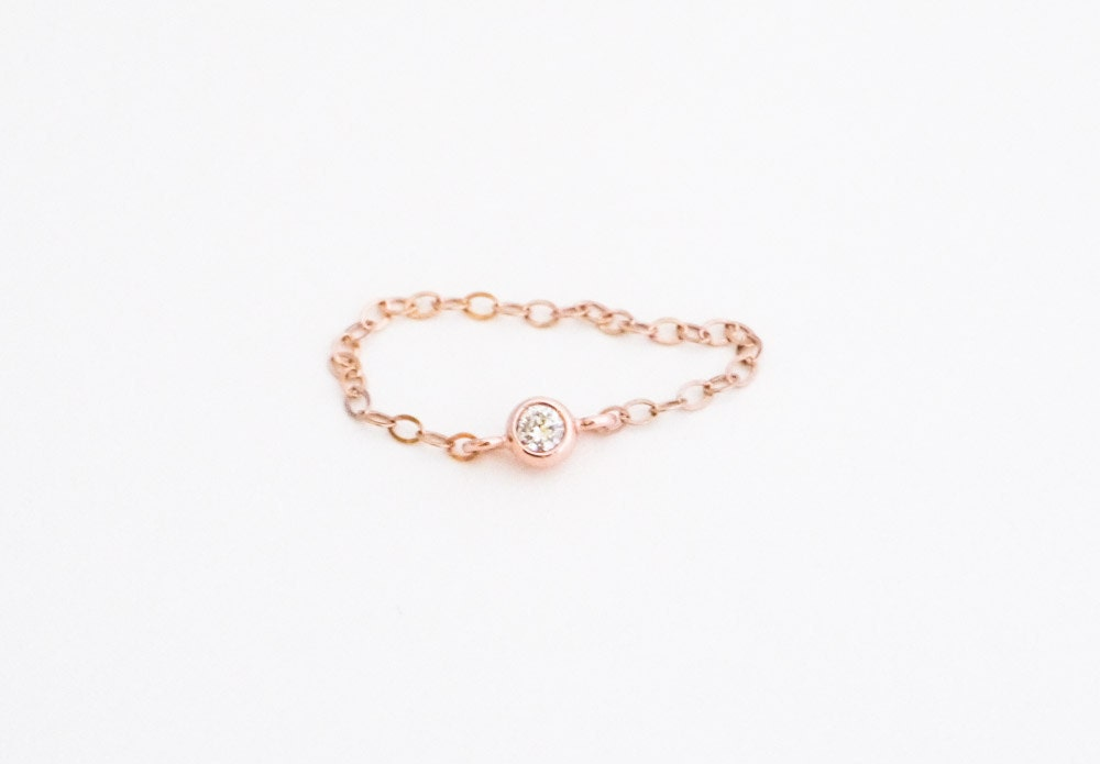 delicate ring dainty 14k rose gold filled chain and tiny cz
