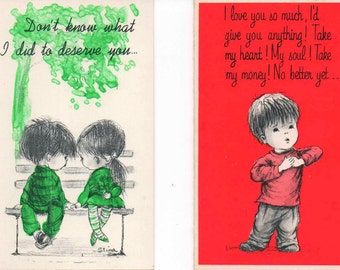 Mini Mops greeting cards, Two unused c1970s, good shape, Friendship