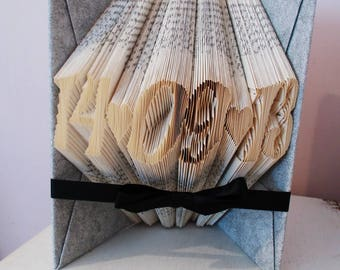 Anniversary date - folded book art - paper anniversary - first anniversary gift - anniversary gift for her - wedding gift - gift for couple