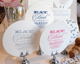 Coasters for Wedding, engagement, hen's party, table decoration, favors, guest book alternative Letterpress SAMPLE ONLY One coaster only.