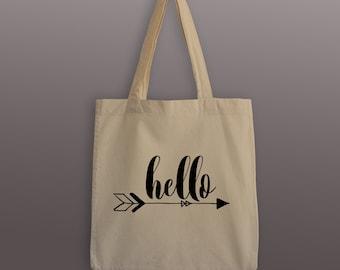 Hello Tote Bag - Cotton Tote - Boho Arrow Tote - Hello - Arrow Tote Bag - Bohemian Bag - Bohemian Tote - Tote Bag - Grocery Tote - Bag