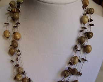 "69"" Vintage Crocheted Brown Seeded Necklace, necklace, vintage, crocheted, seeds"