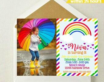 Rainbow Photo Invitation // Rainbow Invitation // Rainbow Birthday Party // Girl Invitation // Rainbow Invite // Under the Rainbow Invite