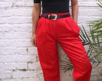 Vintage 80s Benetton High Waisted Petite Red Trousers