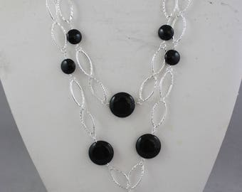 necklaces, black necklaces, silver necklaces, stone necklaces, 2 strand necklaces, link necklaces,