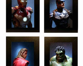 "Framed Avengers Toy Photos Action Figure Photography 4"" x 6"" Movie"