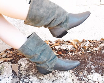 Vintage Slouch Boots Grey Suede 80's Ankle Booties Size 7 Made in Spain
