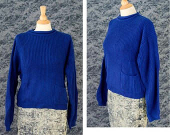 80s Blue Knit Sweater, 80s Crochet Sweater, 90s Grunge, Pull Over Sweater,  Women's Size Medium, Layering Sweater, Gift for her, Royal Blue