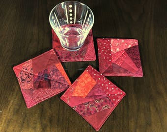 Red Crazy Quilt Coasters, Wine Glass Coaster Set, Set of 4 Beverage Coasters,  Red Improv Coasters, Fabric Coasters,  Four Handmade Mug Rugs