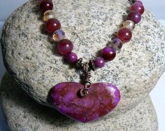 Red Violet Magnesite Heart necklace