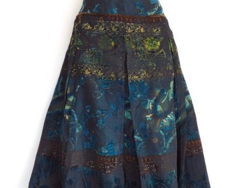 Women's Vintage YORN Pleated Calf Length Petrol Blue Brown Floral Skirt Size UK14 - UK16 / Waist