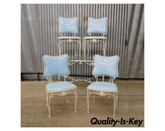 Vintage 5 Pc. Blue Wrought Iron Patio Dining Set Table 4 Chairs Mid Century  Woodard