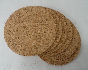 """SALE Cork Coasters Round, 4"""", 3mm, 1/8"""", Natural Cork, Round Cork, Package of Six New Cork Coasters"""