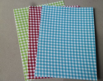 x 3 coupon cotton tape plaid fabric white green blue red 15 x 20 cm
