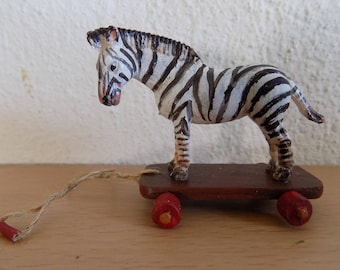 Dollhouse Miniature Zebra Pull Toy, 1:12 scale, Toy for Dollhouse