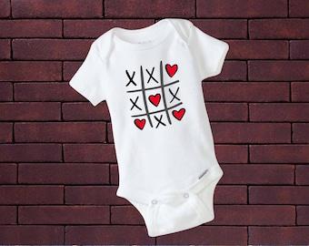 Valentines Day Onesie | Hearts Onesie | Tic-Tac-Toe Onesie | Tic-Tac-Toe Hearts Onesie | Baby Girl Onesie | Girl Onesie