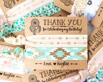 Dreamcatcher Floral Boho Birthday Party Hair Tie Favors | Tribal Arrow Hair Tie Favors, Bohemian Birthday Party Favors, Teen Girl Birthday