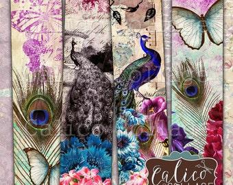 Printable Bookmarks, Digital, Spring Peacock, Ephemera, Printable Sheet, Peacock Feathers, Instant Download, Digital Bookmarks, Vintage