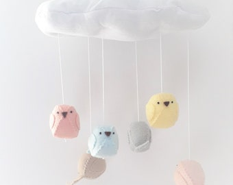 Cloud mobile with 6 birds in soft colours  -  nursery decoration
