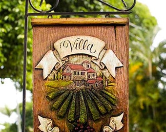 Italian Villa Personalized Yard Sign with Iron Yard Stake