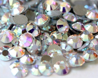 Crystal AB Clear Glass Rhinestones - SS34, 288 pieces - 7mm Flatback, Round, Loose Bling
