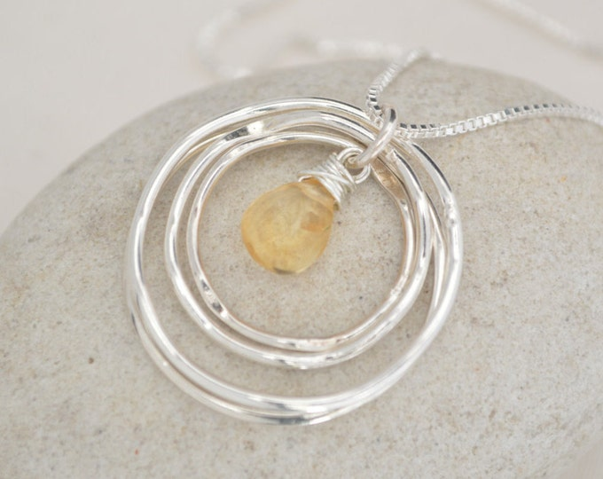 40th Birthday Gift for women, 4th Anniversary gift for wife, Gift for daughter necklace, Citrine necklace,  4 Best friend necklace