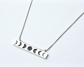 Moon Phase Necklace - sterling silver moon necklace - moon jewelry - crescent moon necklace - triple goddess necklace - wiccan jewelry