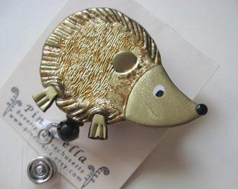 Hedgehog Retractable Badge Reel ID Holder alligator or belt clip
