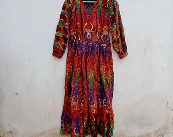 Velvet vintage maxi dress, 60s, 70s, brown, embroidery, gypsy, boho