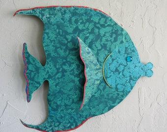 Tropical Fish Large Metal Wall Art Tropical Fish Sculpture Bathroom beach House Coastal Decor Aqua Teal Recycled Metal Wall Art 18 x 20