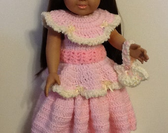 "Elegant crocheted pink dress for your 18"" Doll. Includes headband, slippers and purse."