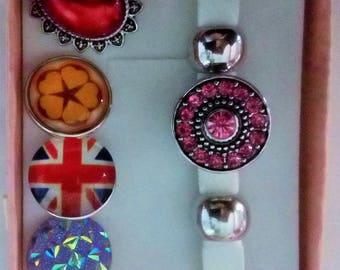Set Bracelet + 5 white faux leather snap button snap jewelry 20mm