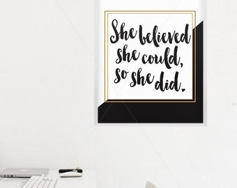 She Believed She Could So She Did || She Believed She Could, Inspirational Print, Kate Spade, She Believed, Motivational Print, teen print