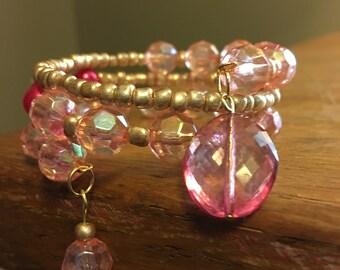 Pretty in Pink Memory Wire Bracelet