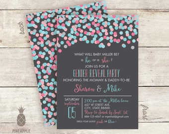 Confetti Gender Reveal Invitations - Charcoal Background Color