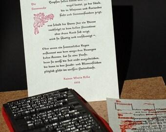 Postkarte »Die Sonnenuhr« (Rilke), Buchdruck, Bleisatz auf Graupappe
