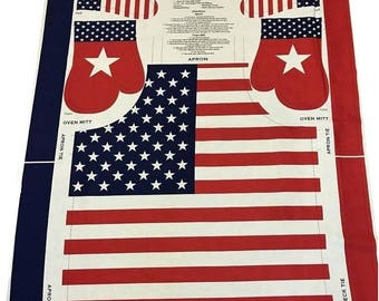 4th of July Oven Mitt and Apron Cotton pre-printed Fabric Panel