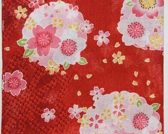 Japanese Cotton Fabric 50cm / Handkerchief - Red Floral Sashiko