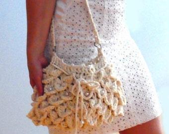 Petals crochet shoulder purse- Off white boho clutch- Summer crochet bag - Women handbag -Mermaid crochet purse- Casual crochet clutch