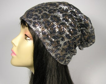 FREE SHIPPING Sequin Leopard Print Slouch Hat Glam Animal Print Chemo Cap Alopecia Hair Loss Sequined Slouchy Beanie Sequin Slouch Hat