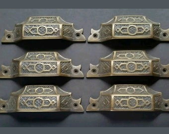 """6 antique vintage brass Victorian Apothecary Bin Pull handles 4 9/16"""" #A6"""