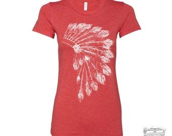 Womens HEADDRESS T Shirt  Native American feathers design hand screen printed s m l xl xxl (+ Colors Available) Zen Threads custom