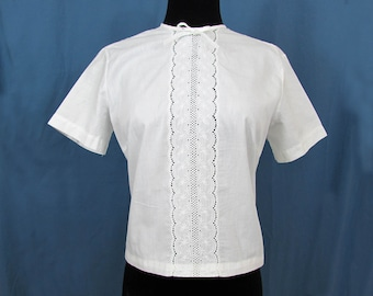 White cotton eyelet inset blouse by Ruth Barry - 1950s-60s - Sm