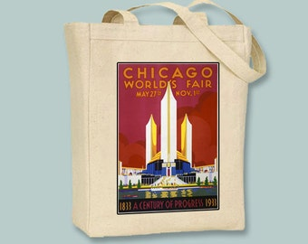 Chicago World's Fair 1933 vintage Poster on Black or Natural canvas Tote - Selection of sizes  available