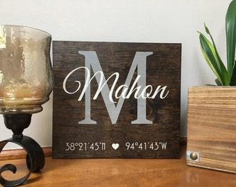 Custom latitude and longitude sign with Name | Personalized Name GPS Coordinates sign | Last Name Sign Est | Housewarming Gift | Wedding