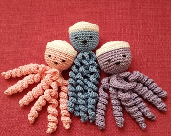 Crochet Octopus, Preemie Small Crochet Squid, Inkfish, Baby toy, Cuttlefish, Sepia