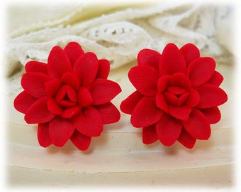 Red Dahlia Earrings Stud or Clip On - Dahlia Jewelry