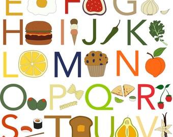 Food Alphabet Print, Fine Art Print by Kate Durkin, Nursery Alphabet Art