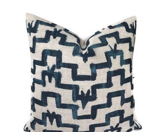 Zak and Fox Pillow Cover in Tulu, Indigo Blue, Geometric Designs, Designer Pillow, Decorative Throw Pillow Cover, Bohemian Pillow, Navy Blue